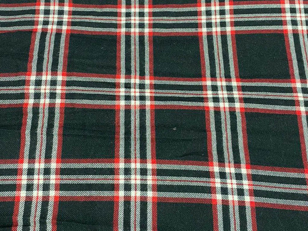 Black Red Yarn Dyed Checks Printed Cotton Fabric