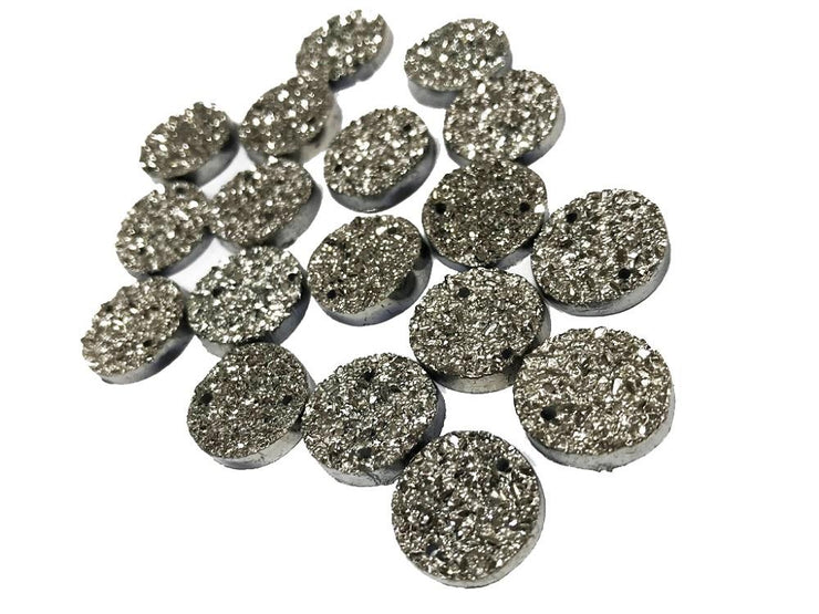 Blackish Silver Circular Shiny Sugary Plastic Stones (14 mm) (4519095861317)