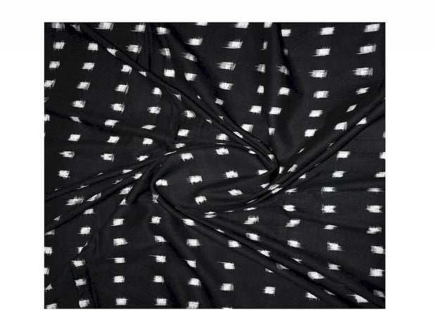 Black White Boxes Woven Double Cotton Ikat Fabric