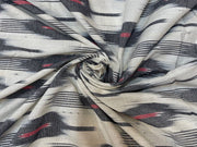 White Black Abstract Cotton Ikat Fabric