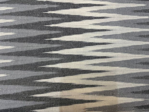 Black Gray Abstract Printed Cotton Ikat Fabric