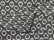 Black White Abstract Yarn Dyed Cotton Ikat Fabric