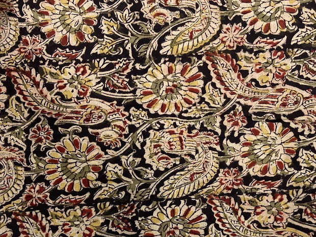 Black Red Flowers Kalamkari Printed Cotton Fabric