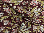 Blood Red Flower Kalamkari Printed Cotton Fabric