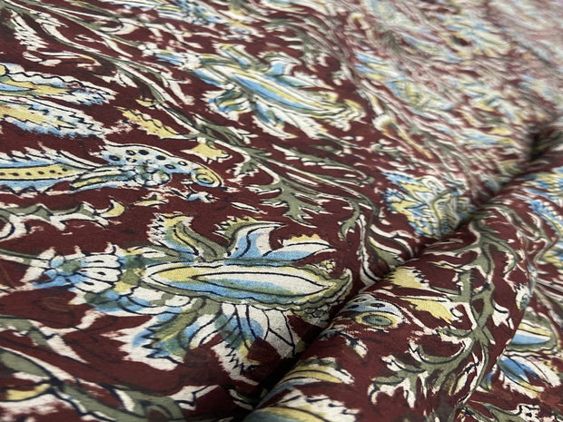 Blood Red Floral Kalamkari Printed Cotton Fabric