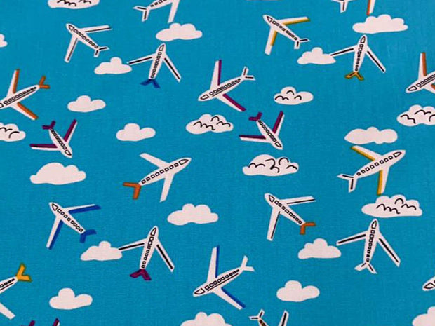 Blue Airplanes Printed Poplin Cotton Fabric
