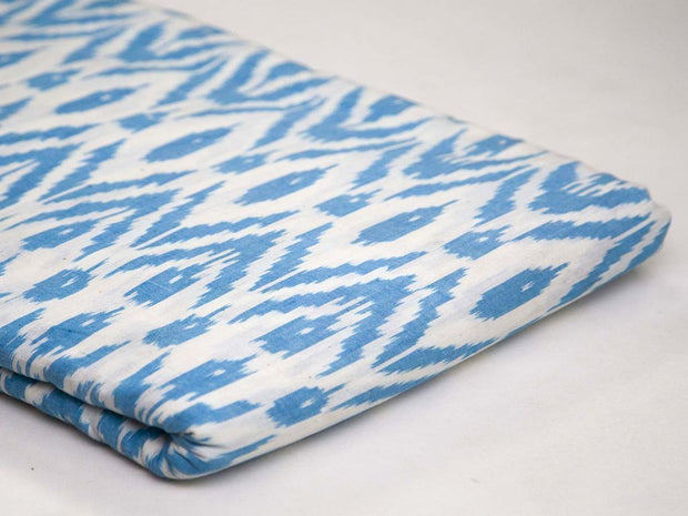 Blue Chevron Cotton Double Ikat Fabric (4579627565125)
