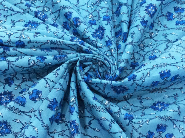 Blue Flowers Block Printed Cotton Fabric
