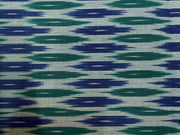 Blue Green Abstract Cotton Ikat Fabric