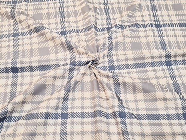 Gray Blue Plaid Checks Printed Cotton Fabric