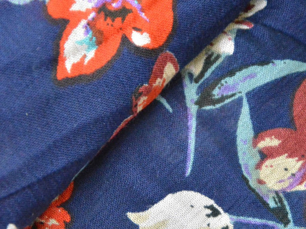 Blue Maroon Multicolour Flowers Crinkled Digital Printed Viscose Crepe Fabric