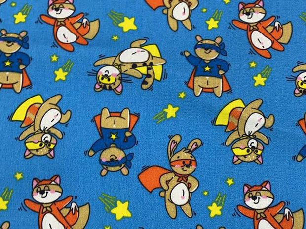 Blue Multicolour Cats Printed Poplin Cotton Fabric