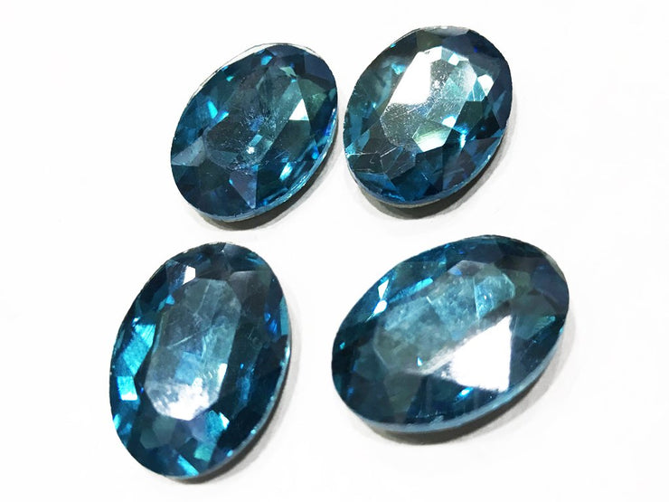 Blue Oval Glass Stone (Without Hole- 25x18 mm) (4538120765509)