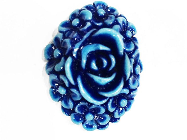 Blue Oval Resin Flower Stones (With Hole- 33x43 mm) (4545382383685)