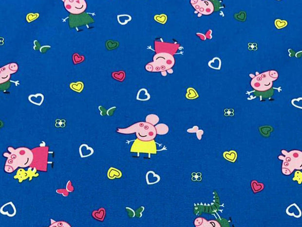 Blue Pigs Printed Poplin Cotton Fabric