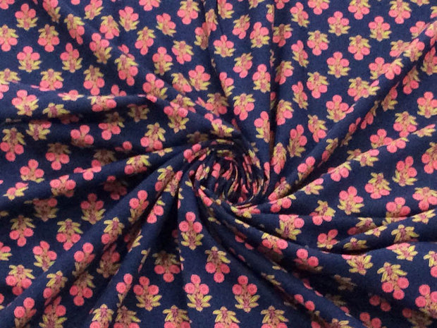 Blue Pink Floral Block Printed Cotton Fabric