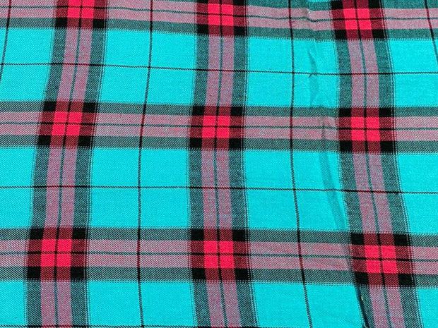 Blue Pink Yarn Dyed Checks Printed Cotton Fabric