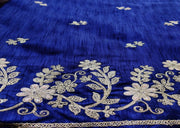 Blue Golden Thread Work Embroidered Poly Silk Fabric