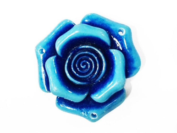 Blue Resin Flower Stones (With Hole- 40x40 mm) (4545378385989)