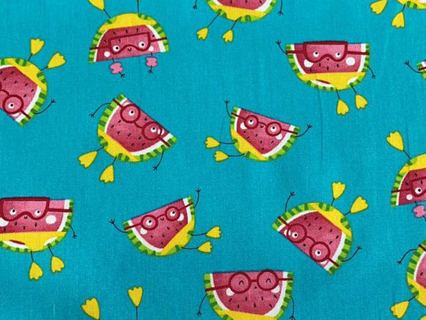 Blue Watermelons Printed Poplin Cotton Fabric