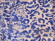 Blue White Abstract Digital Printed Georgette Fabric (4550481150021)