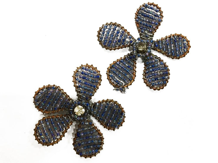 Blue White Flower Handmade Glass Bead Metal Embellishments (42 mm) (4545580990533)