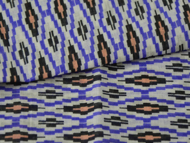 Blue White Geometric Ikat Cotton Fabric