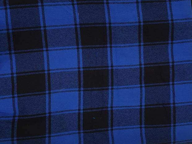 Blue and Black Yarn Dyed Brushed Flannel Twill Cotton Fabric
