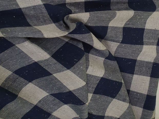Blue and Gray Melange Nappy Checks Yarn Dyed Twill Cotton Fabric