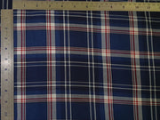 Blue and Red Yarn Dyed Plaid Check Twill Cotton Fabric