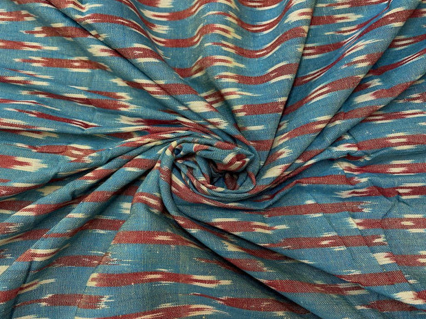 Blue Rust Abstract Printed Cotton Ikat Fabric