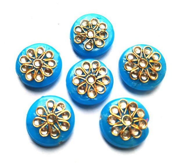 Blue Circular Kundan Stone Beads (18 mm) (4543932235845)