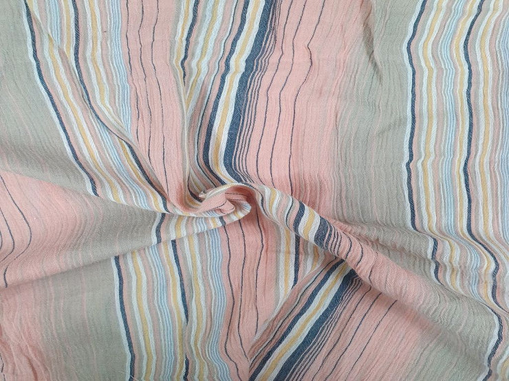 Blush Pink and Blue White Stripes High Twist Cotton Fabric (4544010911813)