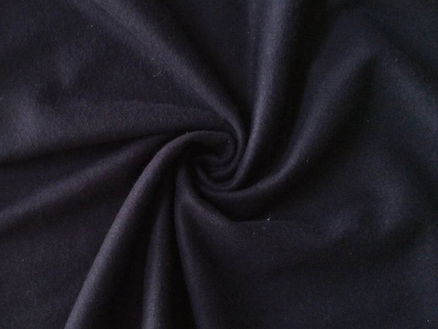 Bright Black Plain Felt Wool Fabric