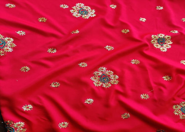 Bright Pink Golden Flowers Embroidered Taffeta Silk Fabric
