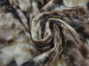 Brown Black Abstract Printed Wool Fabric