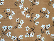 Brown White Flowers Printed Corduroy Fabric