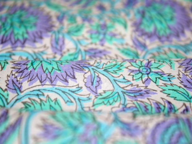 Purple Green Floral Cotton Fabric | The Design Cart (3822186168354)