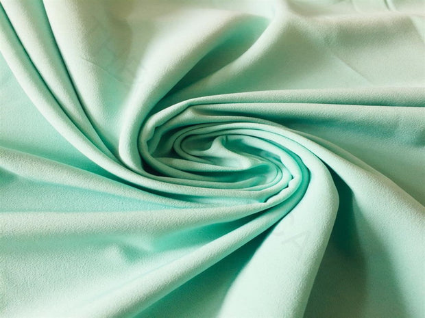 Green Solid Poly Crepe Fabric | The Design Cart