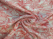 Off White Red Floral Rayon Crinkle Crepe | The Design Cart