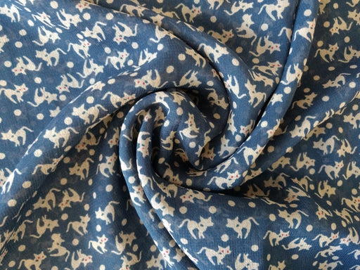 Navy Cat And Dot Print Georgette Fabric