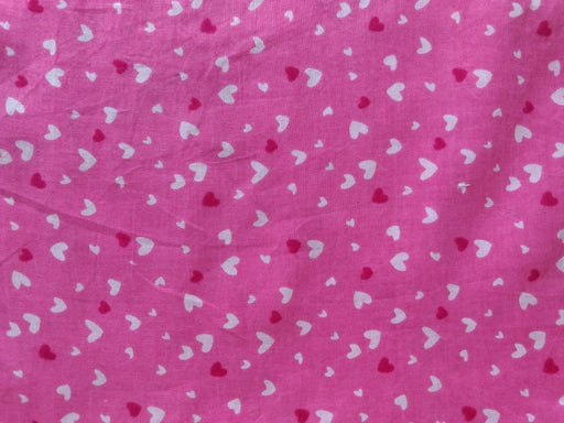 Pink White Heart Print Cotton Fabric
