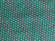 Green Navy And White Geometric Print Polyester Fabric | The Design Cart