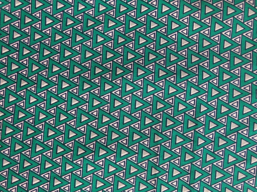 Green Navy And White Geometric Print Polyester Fabric