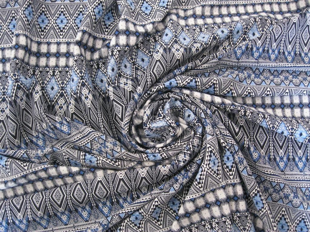 White And Blue Abstract Polyester Fabric | The Design Cart