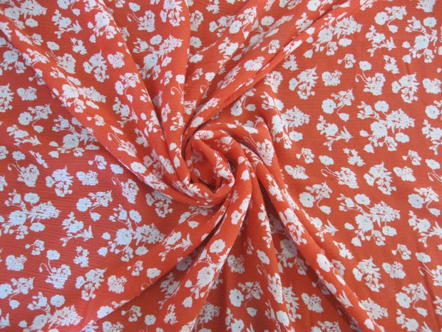Tomato Red White  Floral Crinkle Rayon Crepe | The Design Cart