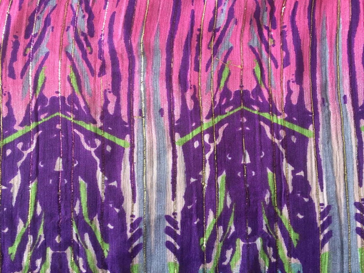 Pink And Blue Abstract Chiffon Fabric | The Design Cart