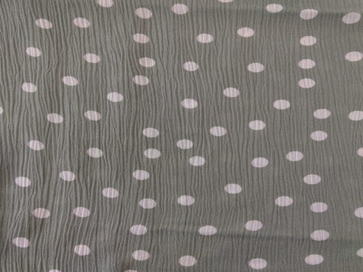 Mint Green White Polka Dot Viscose Crinkle Rayon Fabric