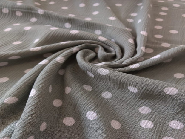 Mint Green White Polka Dot Viscose Crinkle Rayon Fabric | The Design Cart