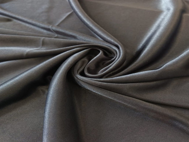 Dark Gray Knitted Satin Fabric | The Design Cart